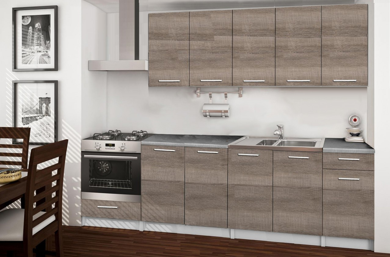 Rovná Basic - kuchynský blok A, 260 cm (dub truffle)