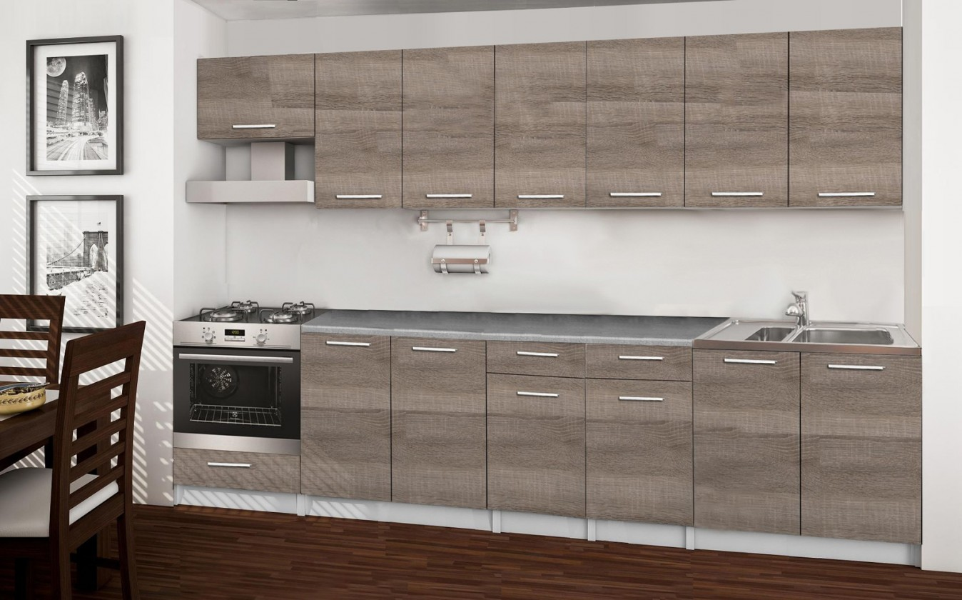 Rovná Basic - kuchynský blok A, 300 cm (dub truffle)