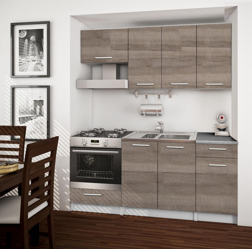 Rovná Basic - kuchynský blok B, 180 cm (dub truffle)