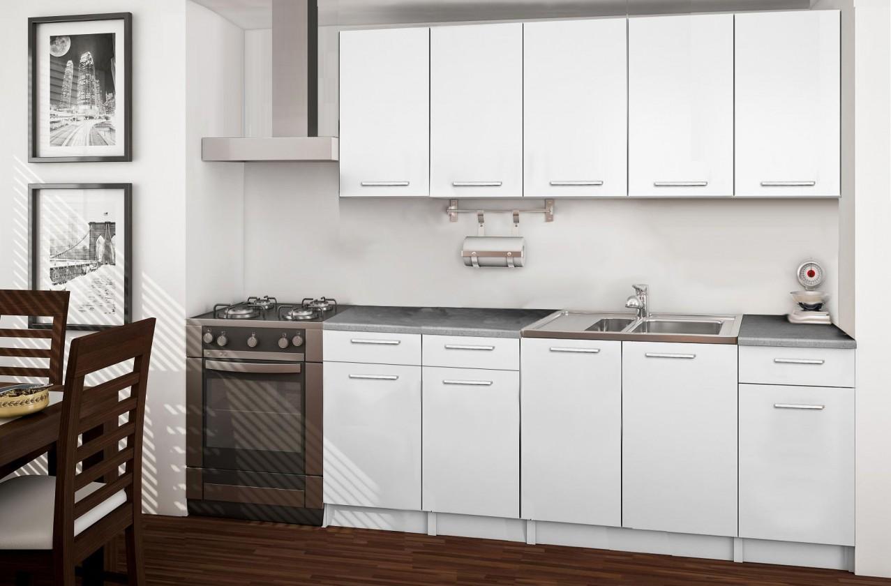 Rovná Basic - kuchynský blok B, 200 cm (biela)