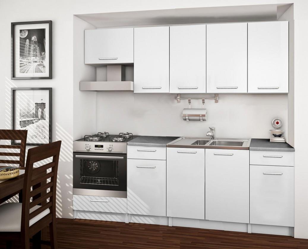 Rovná Basic - kuchynský blok B, 220 cm (biela)