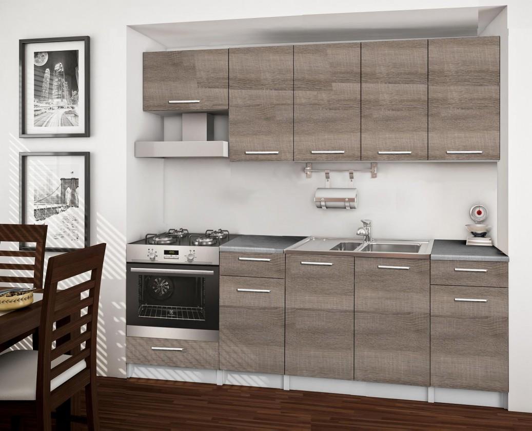 Rovná Basic - kuchynský blok B, 220 cm (dub truffle)