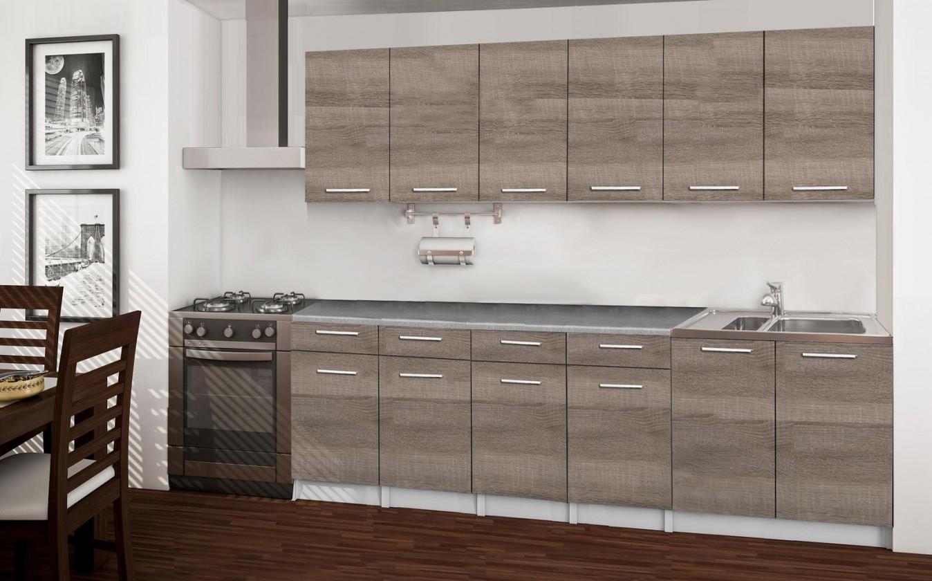 Rovná Basic - kuchynský blok B, 240 cm (dub truffle)