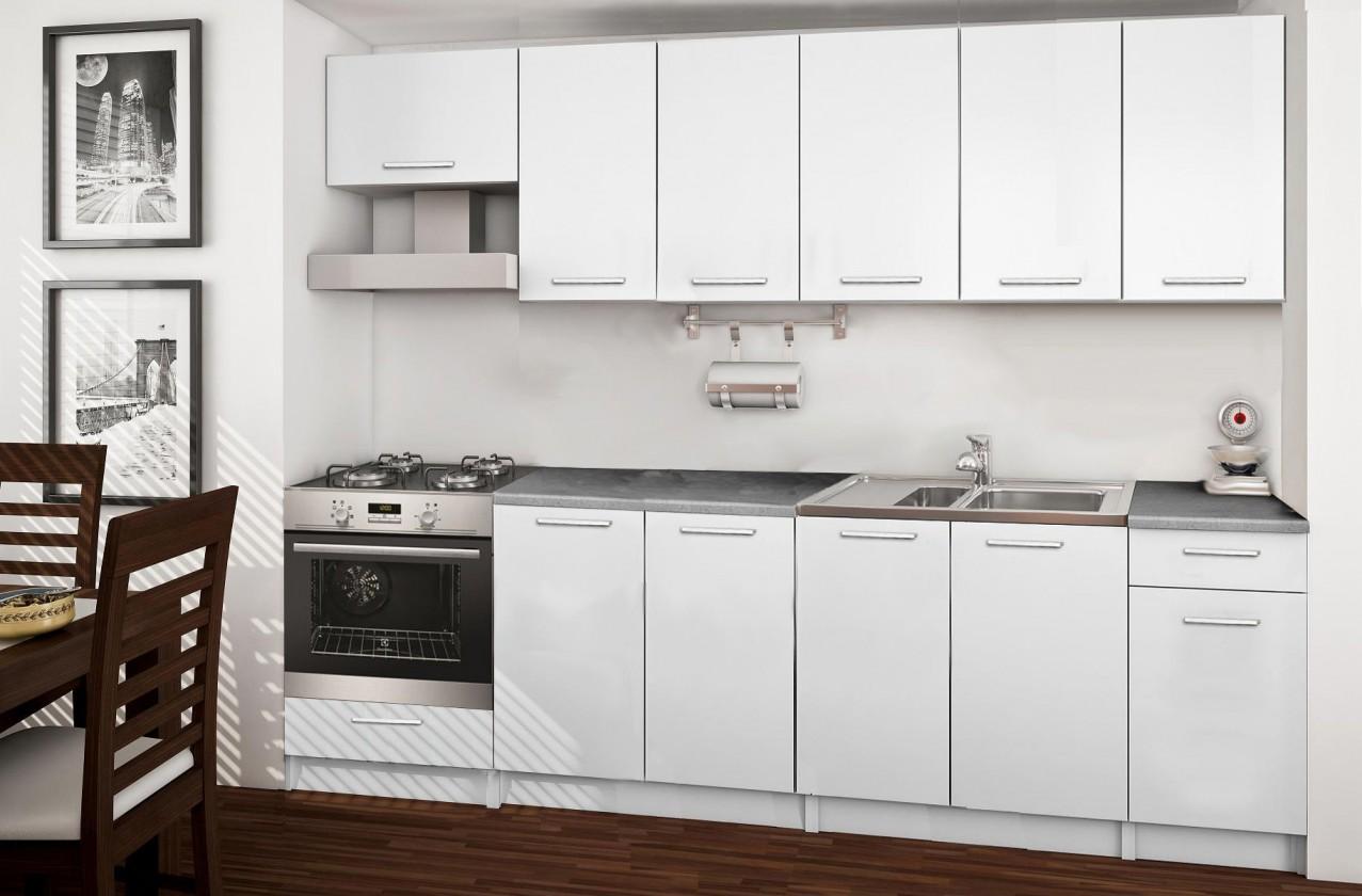 Rovná Basic - kuchynský blok B, 260 cm (biela)