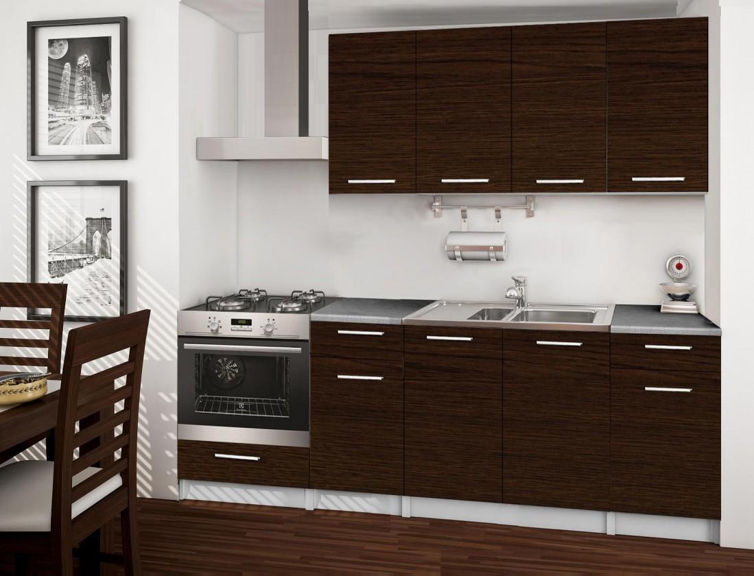 Rovná Basic - kuchynský blok C, 220 cm (wenge)