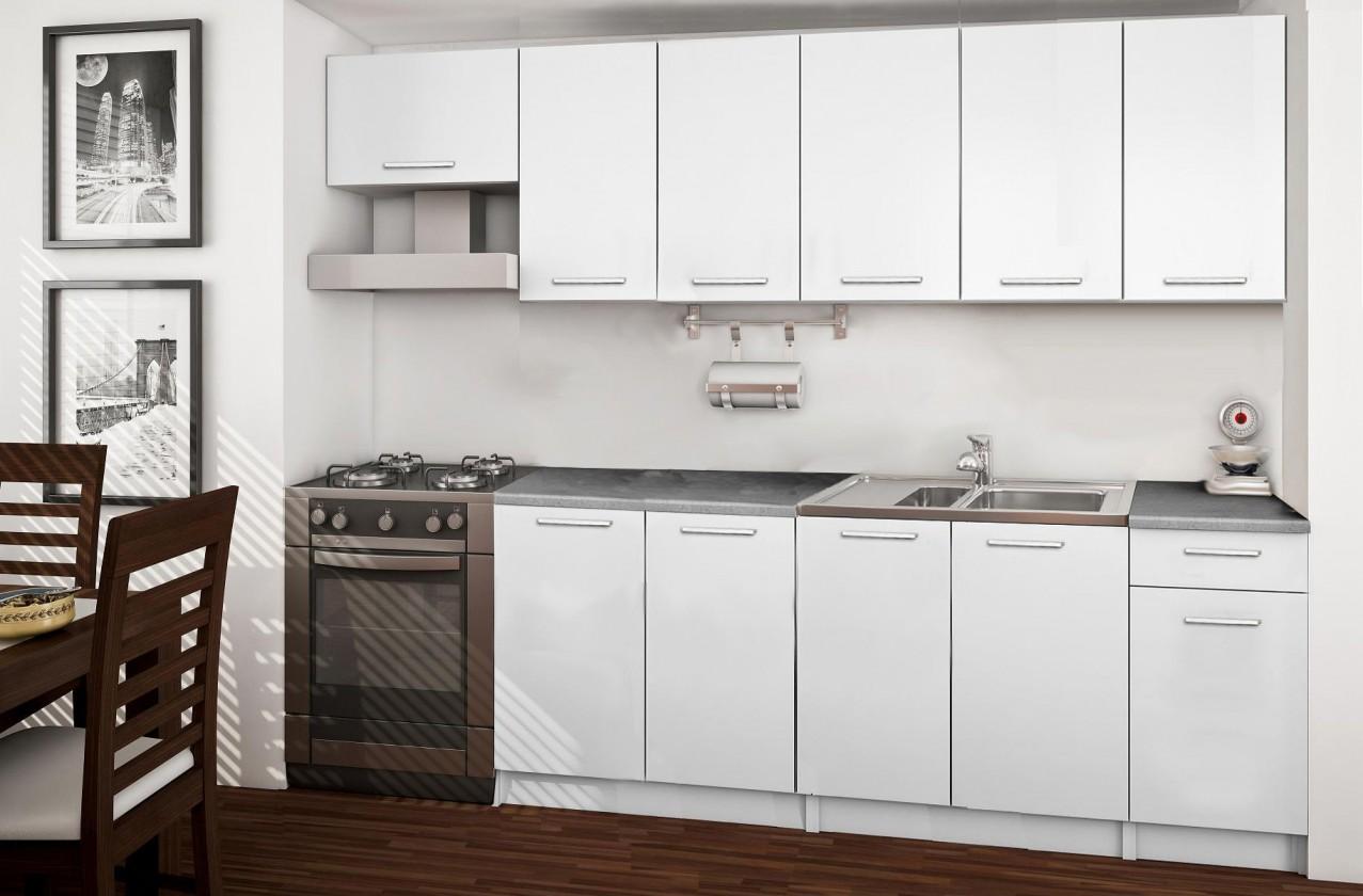 Rovná Basic - kuchynský blok C, 260 cm (biela)