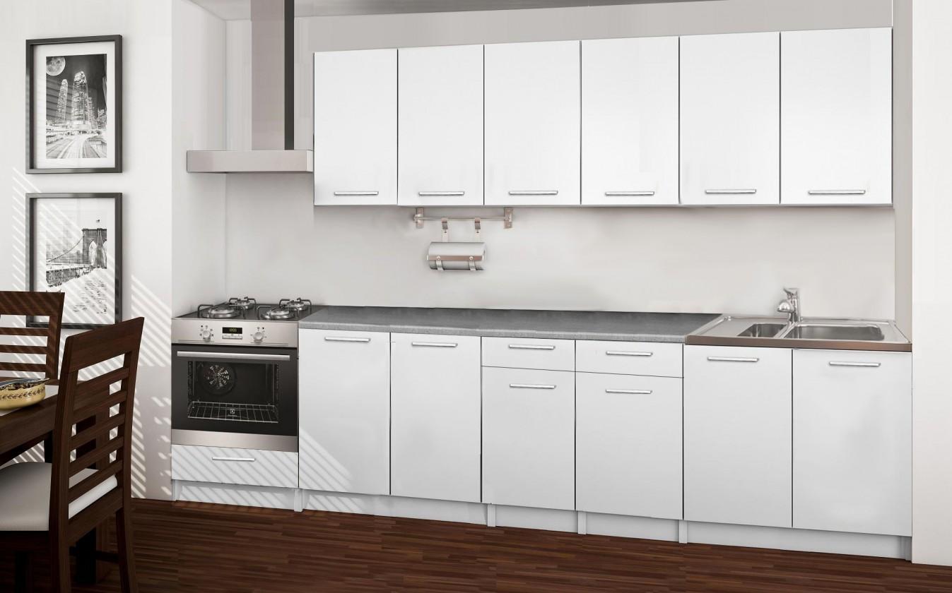 Rovná Basic - kuchynský blok C, 300 cm (biela)