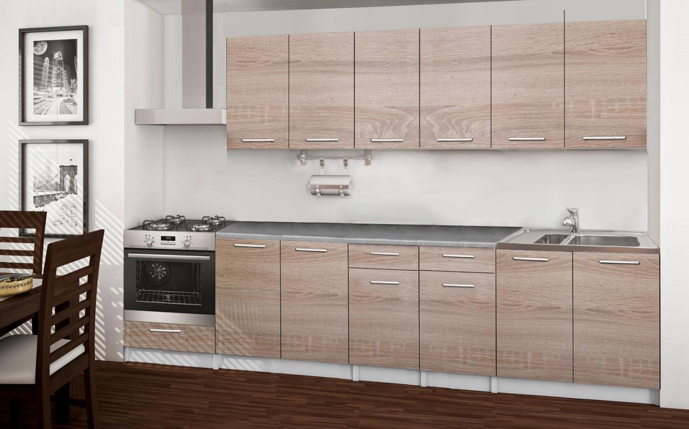 Rovná Basic - kuchynský blok C, 300 cm (dub sonoma)