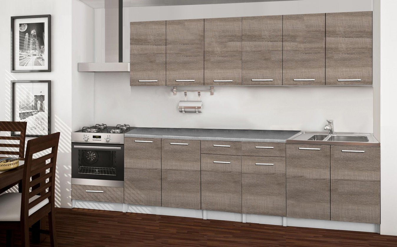Rovná Basic - kuchynský blok C, 300 cm (dub truffle)