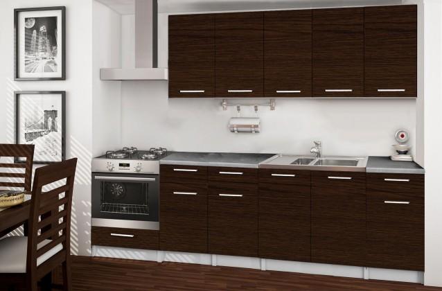 Rovná Basic - kuchynský blok D, 260 cm (wenge)
