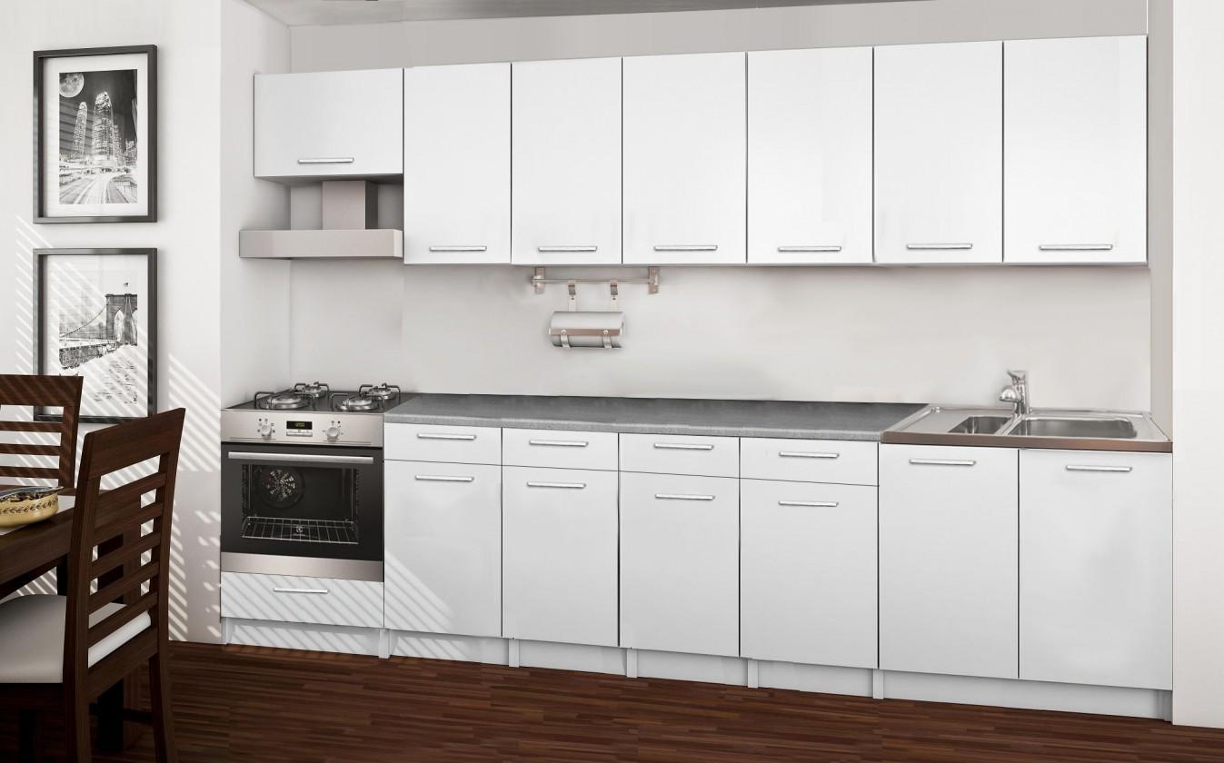 Rovná Basic - kuchynský blok D, 300 cm (biela)