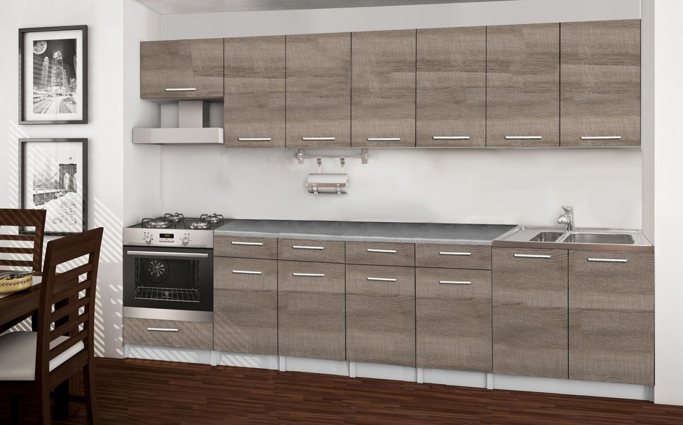 Rovná Basic - kuchynský blok D, 300 cm (dub truffle)