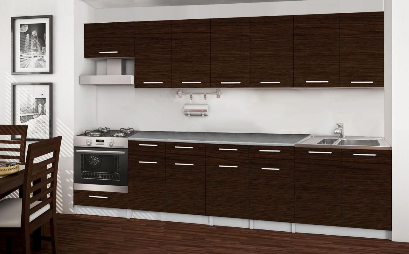 Rovná Basic - kuchynský blok D, 300 cm (wenge)