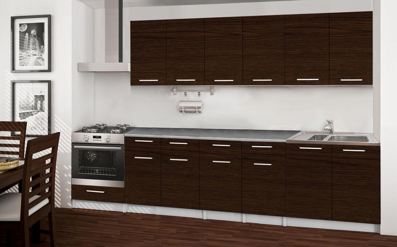 Rovná Basic - kuchynský blok E, 300 cm (wenge)