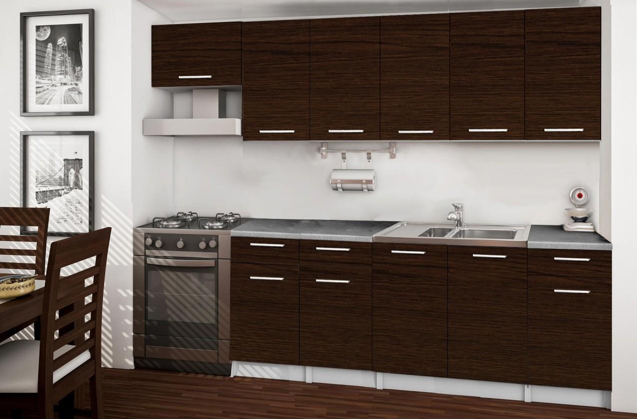 Rovná Basic - kuchynský blok F, 260 cm (wenge)