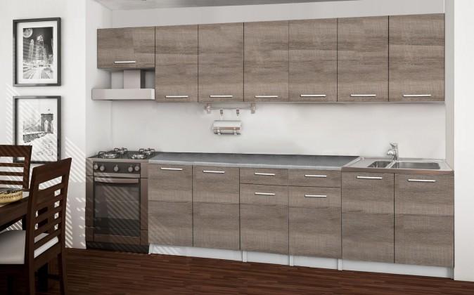 Rovná Basic - kuchynský blok F, 300 cm (dub truffle)