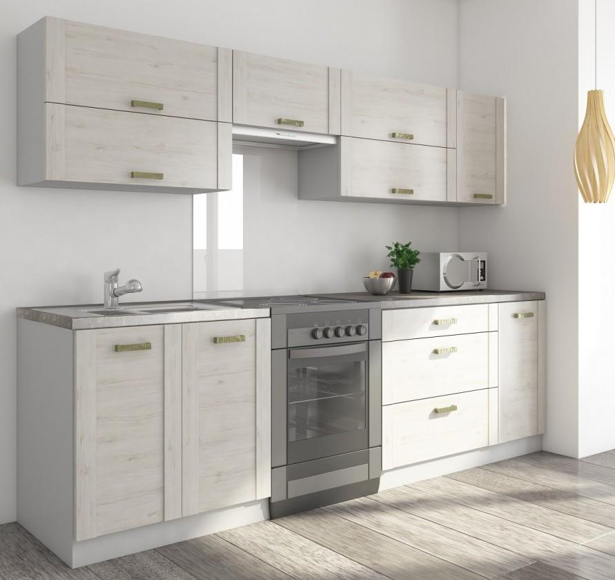 Rovná Carmen - Kuchynský blok B, 200/260 (dub sivý, travertín tmavý)