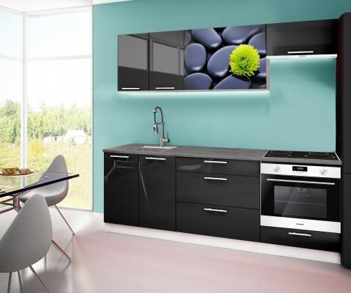 Rovná Emilia 2 - kuchynský blok A 220 cm (čierna, pracovná doska - titan)