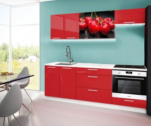Rovná Emilia 2 - Kuchynský blok A, 220cm (červená, mramor, čerešňa)