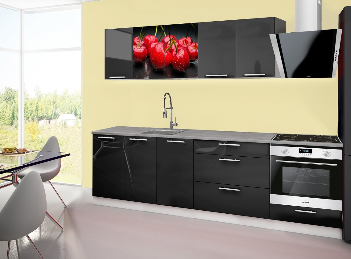 Rovná Emilia 2 - kuchynský blok A 260 cm (čierna, pracovná doska - titán)