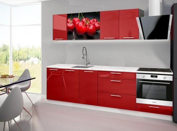 Rovná Emilia 2 - Kuchynský blok A, 260cm (červená, mramor, čerešňa)