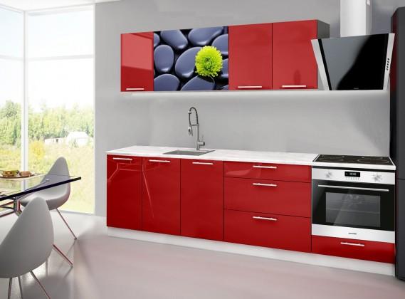 Rovná Emilia 2 - Kuchynský blok A, 260cm (červená, mramor, kamene)