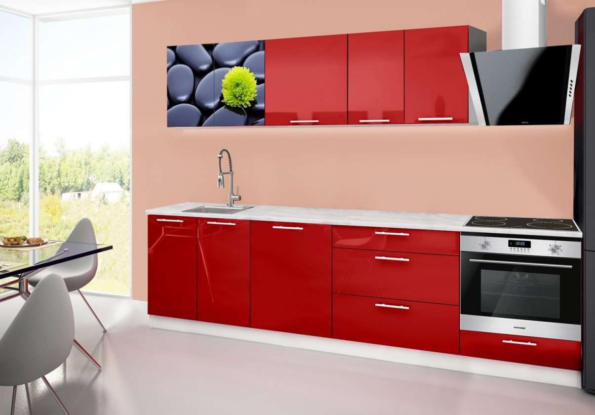 Rovná Emilia 2 - Kuchynský blok B, 280cm (červená, mramor, kamene)
