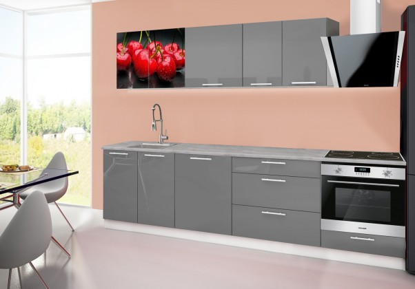Rovná Emilia 2 - Kuchynský blok B, 280cm (sivá, titan, čerešňa)