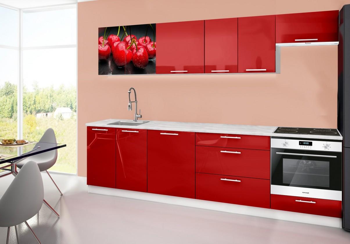 Rovná Emilia 2 - Kuchynský blok D, 280cm (červená, mramor, čerešňa)