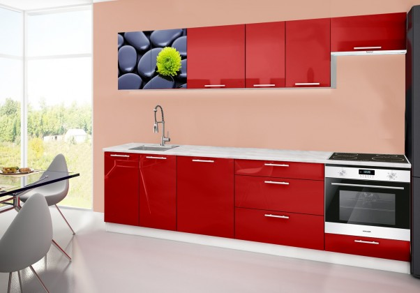 Rovná Emilia 2 - Kuchynský blok D, 280cm (červená, mramor, kamene)