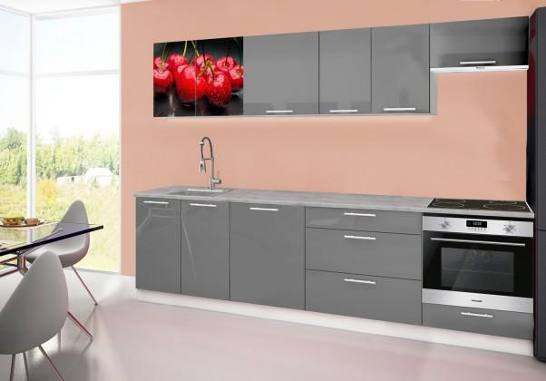 Rovná Emilia 2 - Kuchynský blok D, 280cm (sivá, titan, čerešňa)