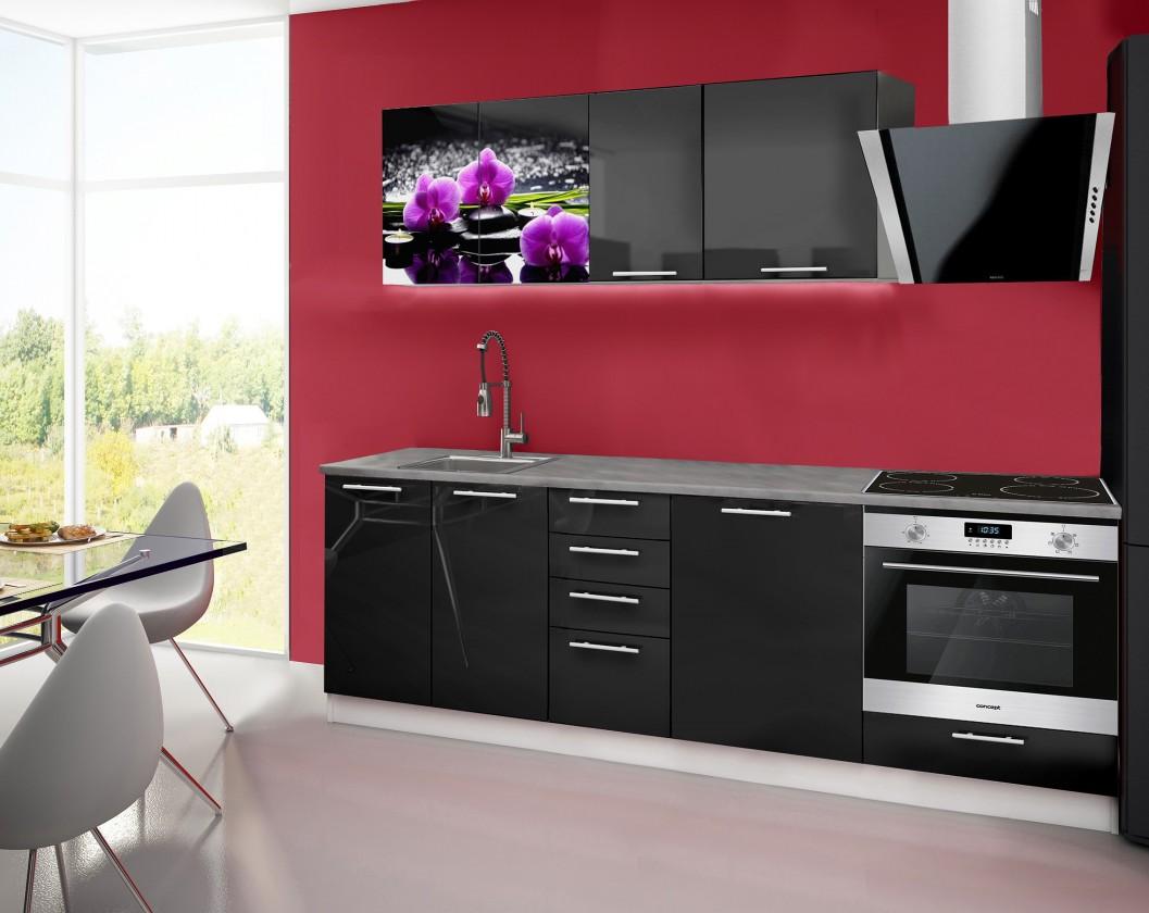 Rovná Emilia 2 - kuchynský blok E 240 cm (čierna, pracovná doska - titán)