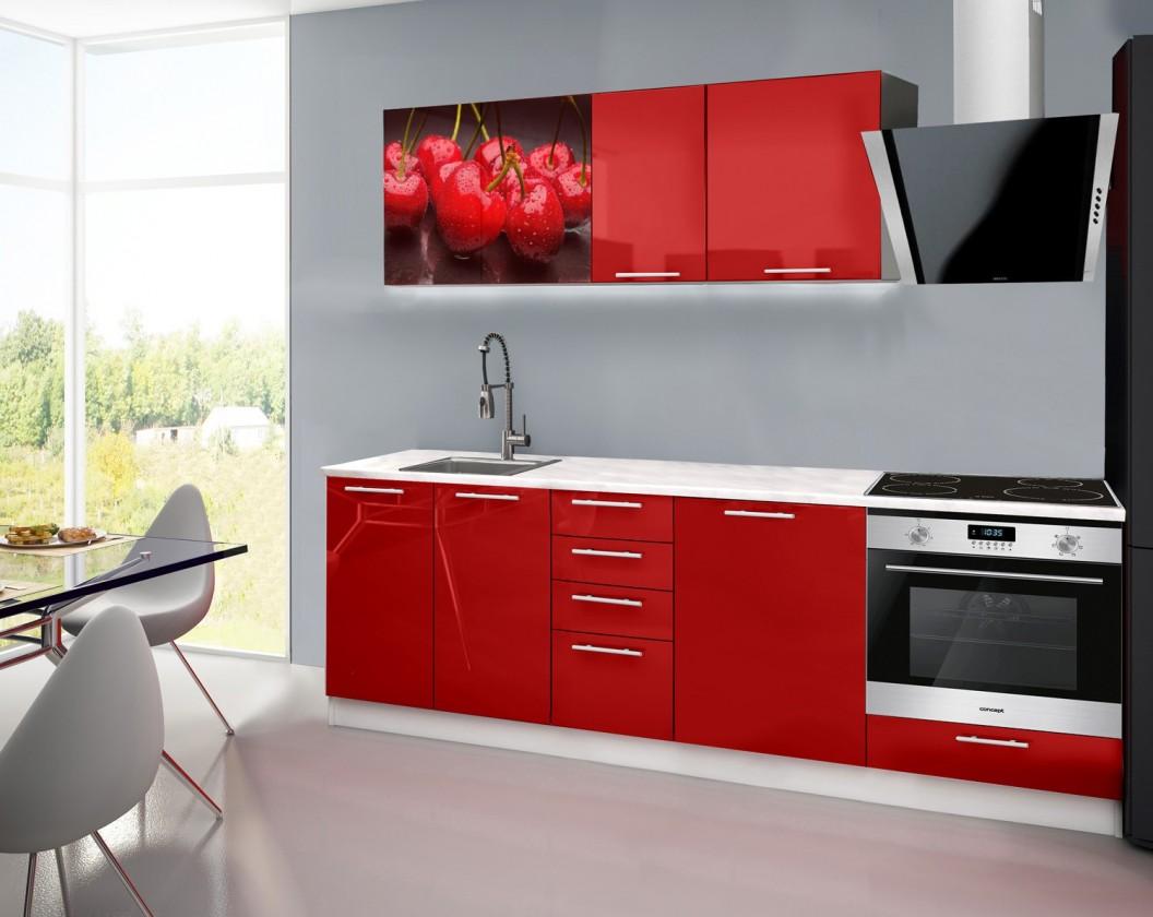 Rovná Emilia 2 - Kuchynský blok E, 240cm (červená, mramor, čerešňa)