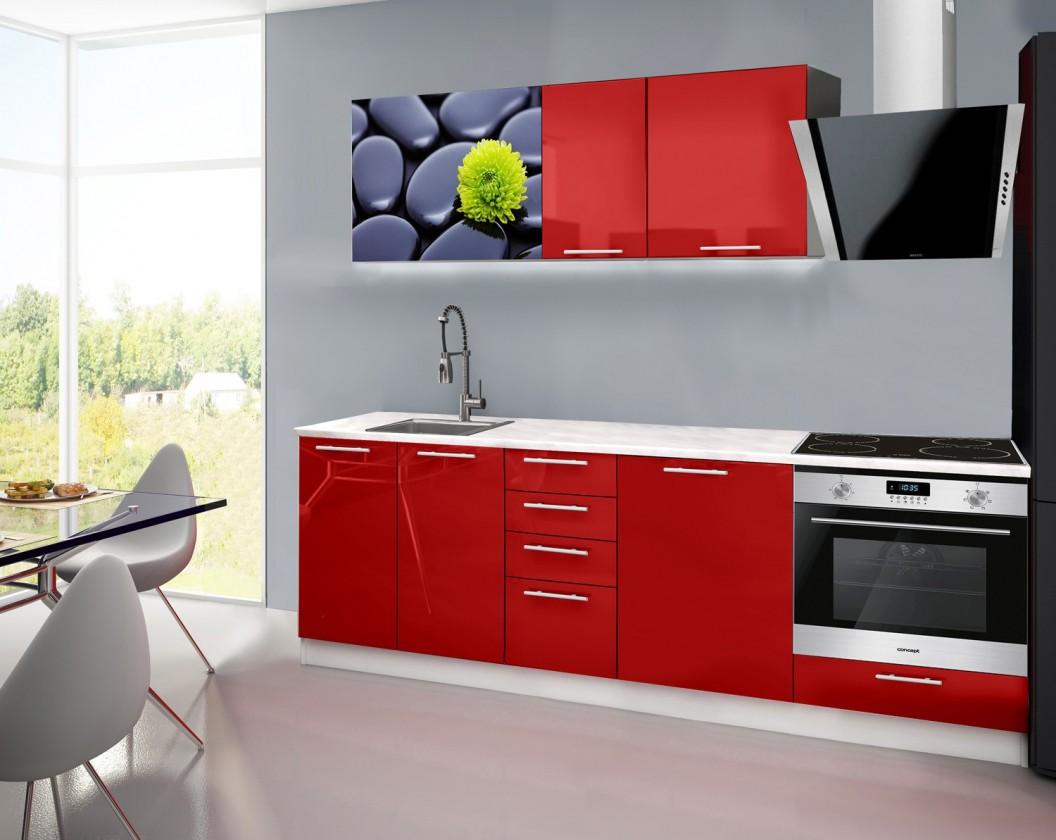 Rovná Emilia 2 - Kuchynský blok E, 240cm (červená, mramor, kamene)