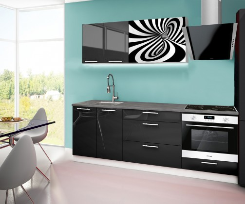 Rovná Emilia 2 - kuchynský blok F 220 cm (čierna, pracovná doska - titán)
