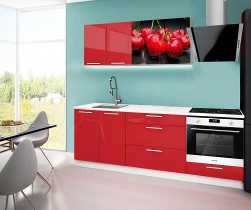 Rovná Emilia 2 - Kuchynský blok F, 220cm (červená, mramor, čerešňa)