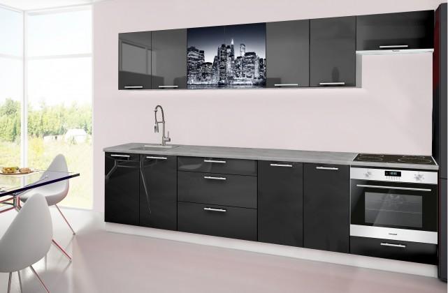 Rovná Emilia 2 - kuchynský blok H 300 cm (čierna, pracovná doska - titán)