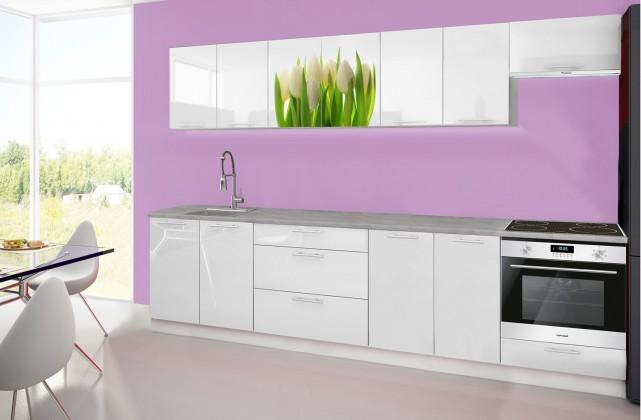 Rovná Emilia 2 - Kuchynský blok H, 300cm (biela, titan, tulipány)