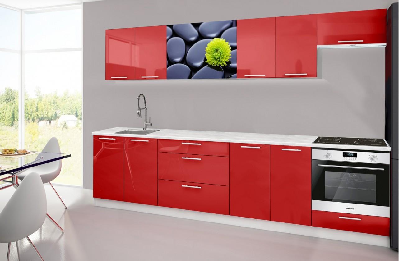 Rovná Emilia 2 - Kuchynský blok H, 300cm (červená, mramor, kamene)