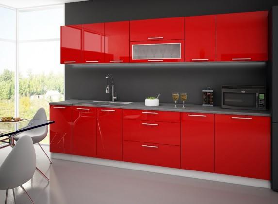 Rovná Emilia - Kuchynský blok A, 300 cm (červená, travertin svetlý)