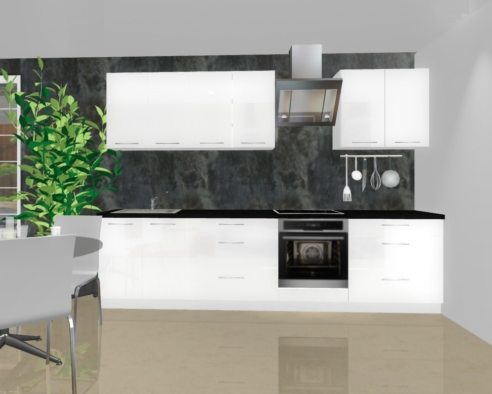 Rovná Emilia - Kuchynský blok A pre vstavanú rúru, 3 m (biela lesk)
