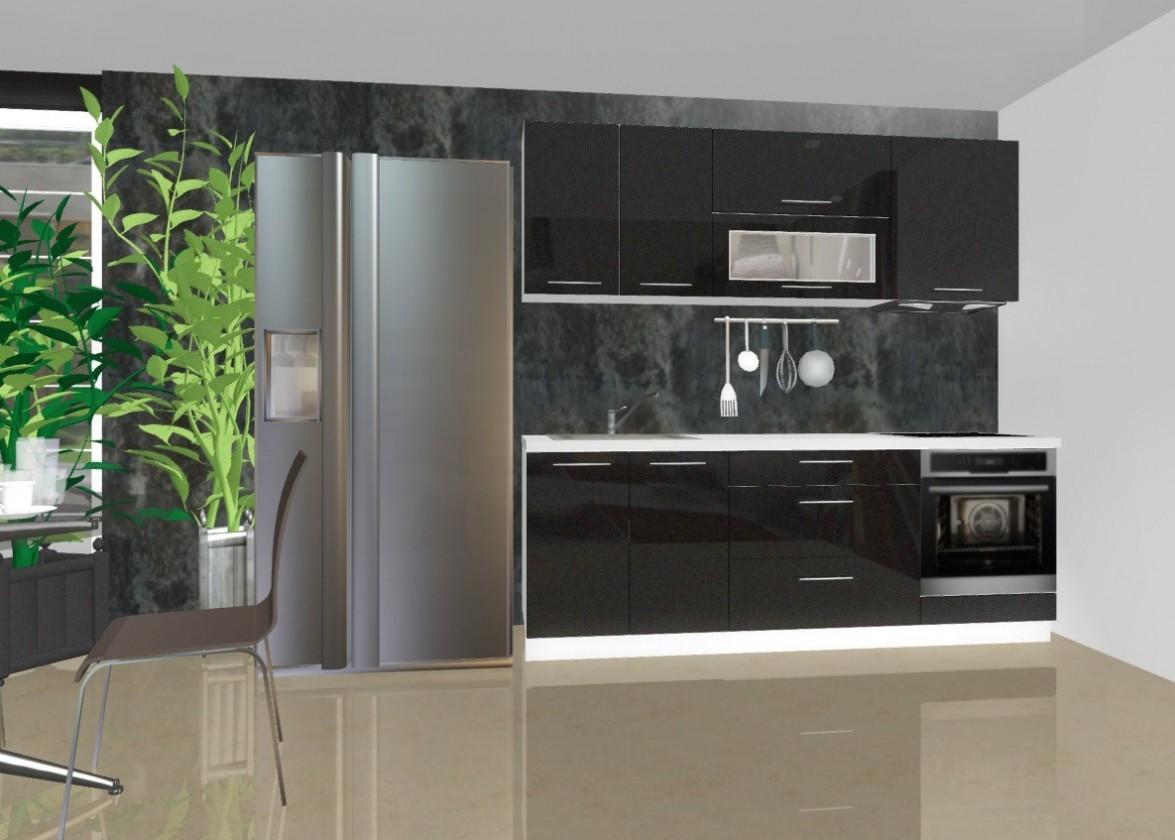 Rovná Emilia - Kuchynský blok B pre vstavanú rúru, 2,2 m (čierna lesk)