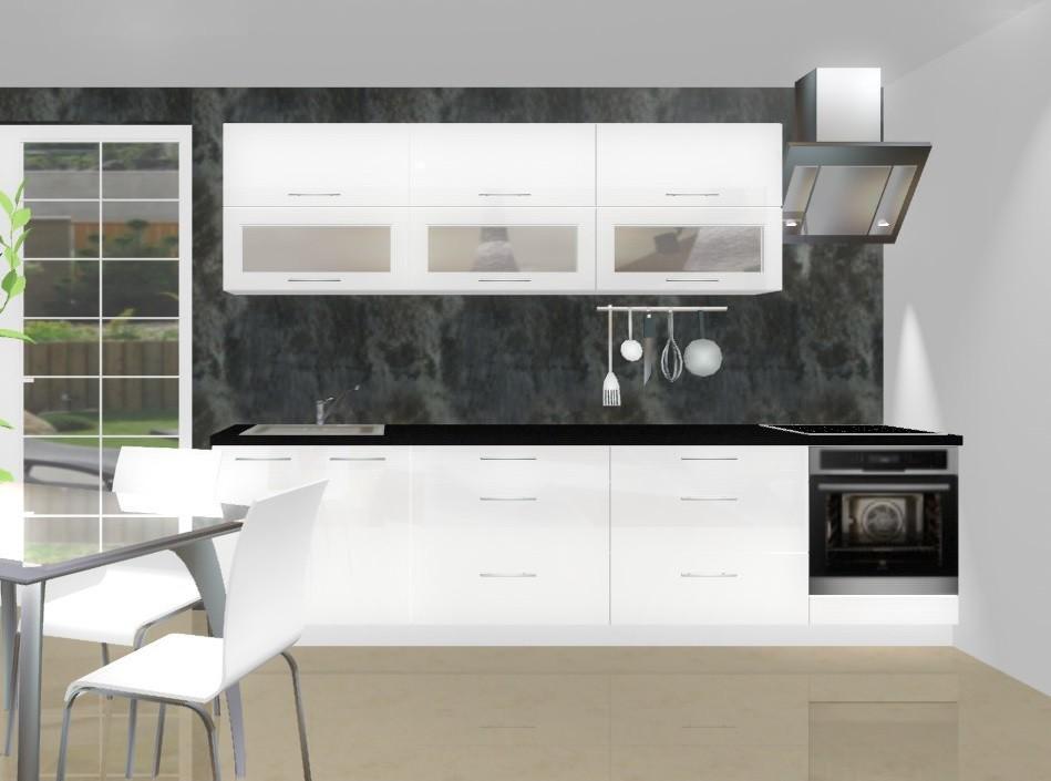 Rovná Emilia - Kuchynský blok B pre vstavanú rúru, 3 m (biela lesk)