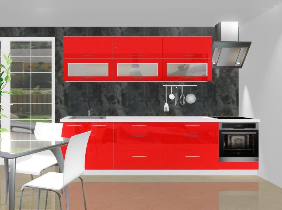 Rovná Emilia - Kuchynský blok B pre vstavanú rúru, 3 m (červená lesk)