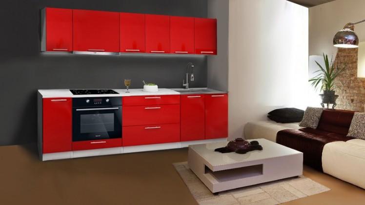 Rovná Emilia - Kuchynský blok C pre vstavanú rúru, 2,6 m (červená lesk)
