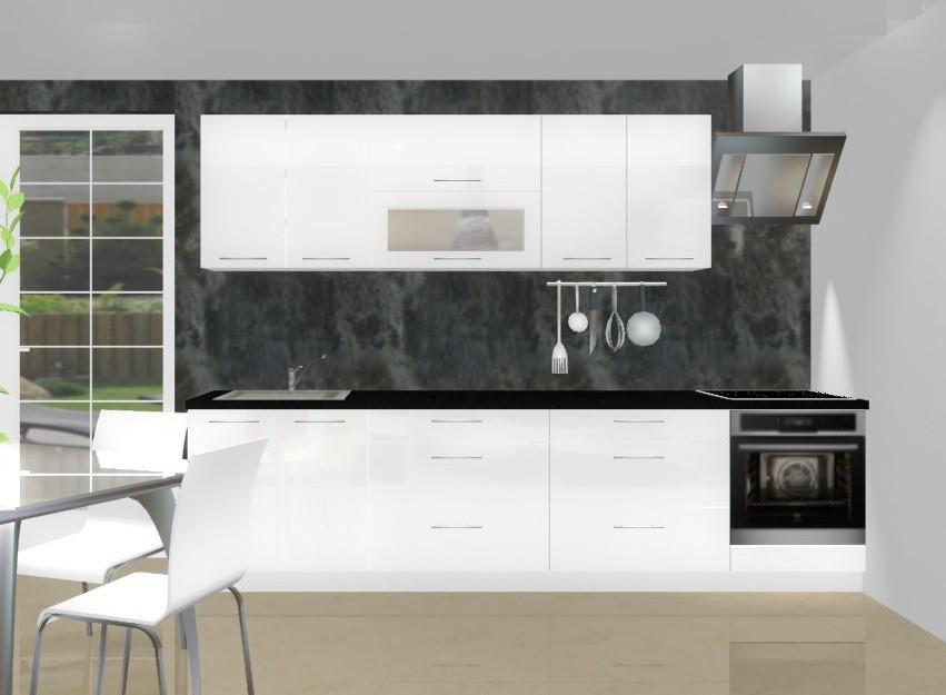 Rovná Emilia - Kuchynský blok C pre vstavanú rúru, 3 m (biela lesk)