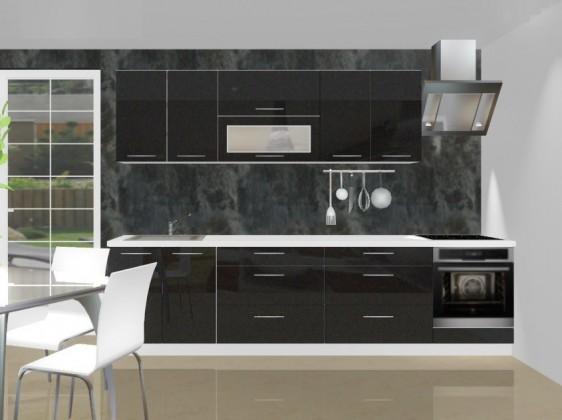 Rovná Emilia - Kuchynský blok C pre vstavanú rúru, 3 m (černá lesk)