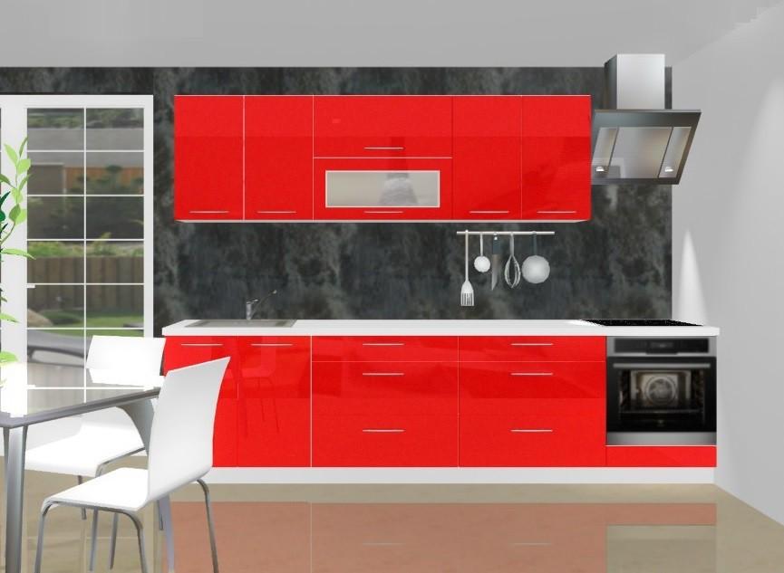 Rovná Emilia - Kuchynský blok C pre vstavanú rúru, 3 m (červená lesk)
