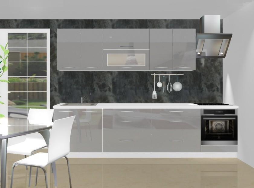 Rovná Emilia - Kuchynský blok C pre vstavanú rúru, 3 m (šedá lesk)