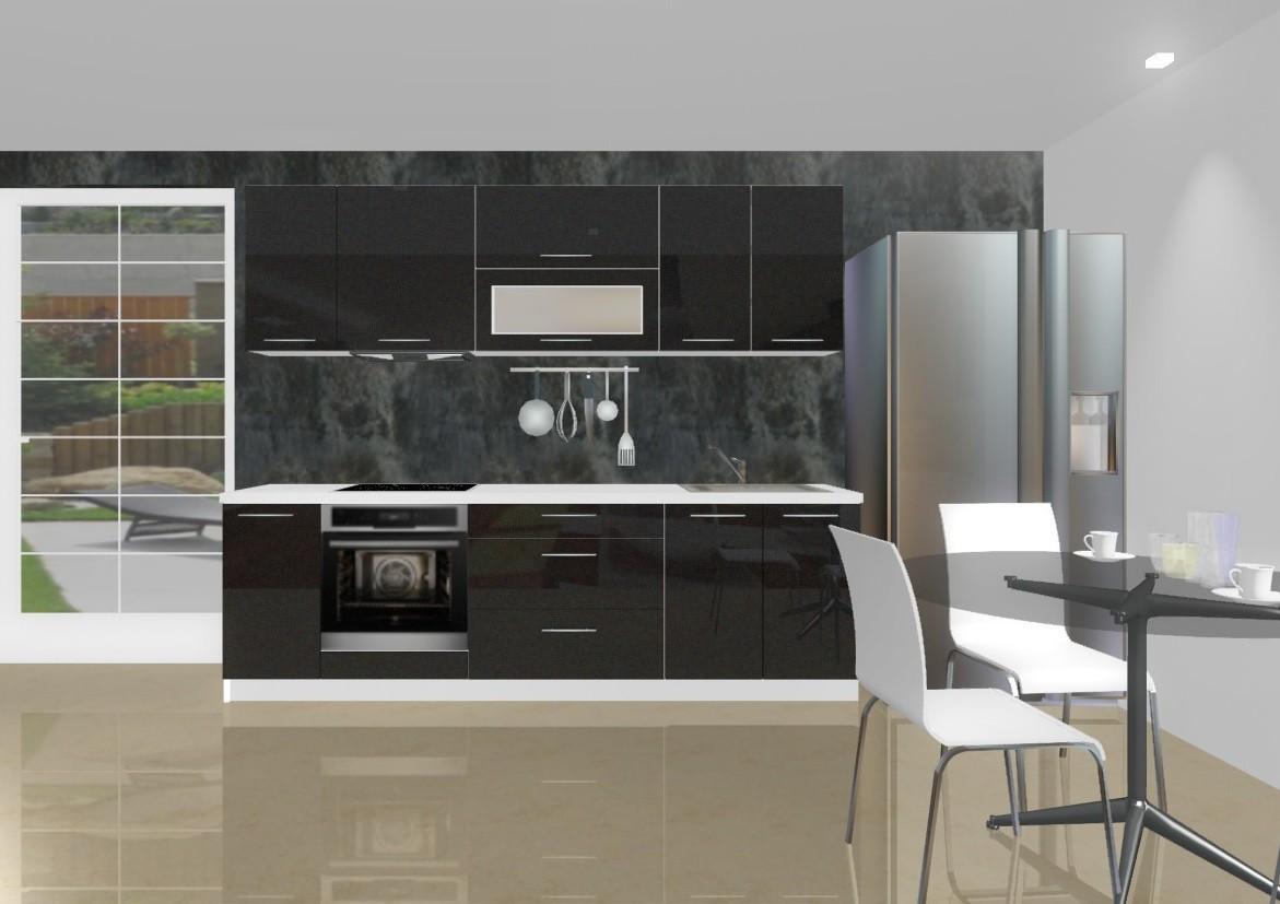 Rovná Emilia - Kuchynský blok D pre vstavanú rúru, 2,6 m (čierna lesk)